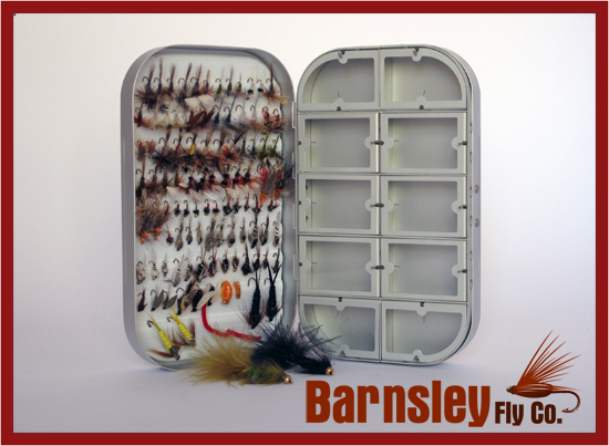 Fly Box + 100 Assorted BARBLESS Trout Flies